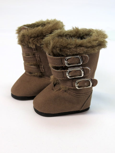 18 Inch Doll Brown Faux Leather and Fur Boots