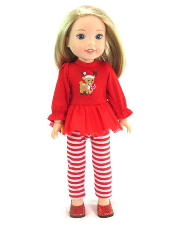14 Inch Doll Holiday Reindeer Top, Leggings, Shoes fits Wellie Wishers Doll