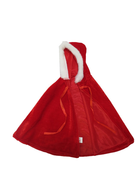 Red Winter Hooded Cape with Fur Trim for American Girl Doll