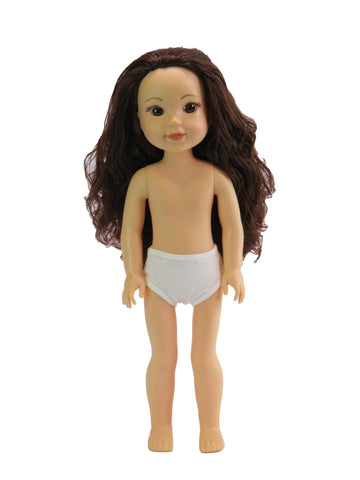 14 Inch Girl Doll, Brunette ~ Undressed