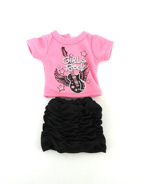 14 Inch Doll Graphic T-Shirt and Skirt fits Wellie Wishers Doll