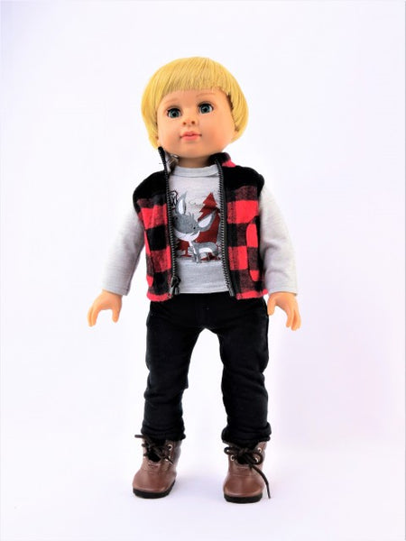 18 Inch Boy Doll 3 Piece Christmas Outdoorsy Outfit