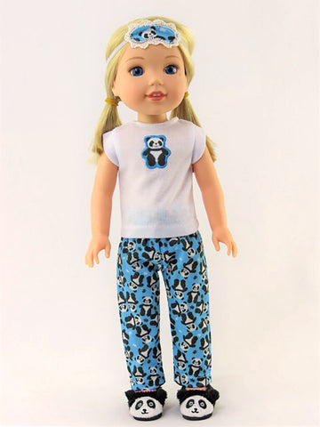 14.5 INCH DOLL Panda Pajamas and Slippers fits Wellie Wishers Doll, Glitter Girls Dolls