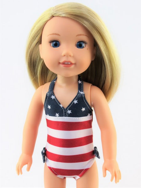 14.5 Inch Doll Patriotic Stars and Stripes Swimsuit
