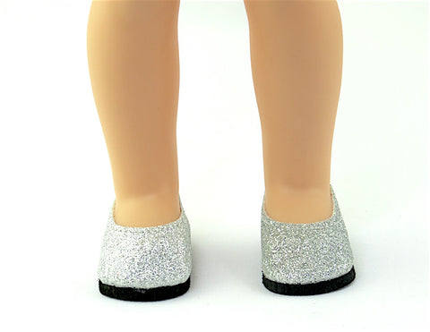 14.5 INCH DOLL Silver Glitter Slip On Shoes