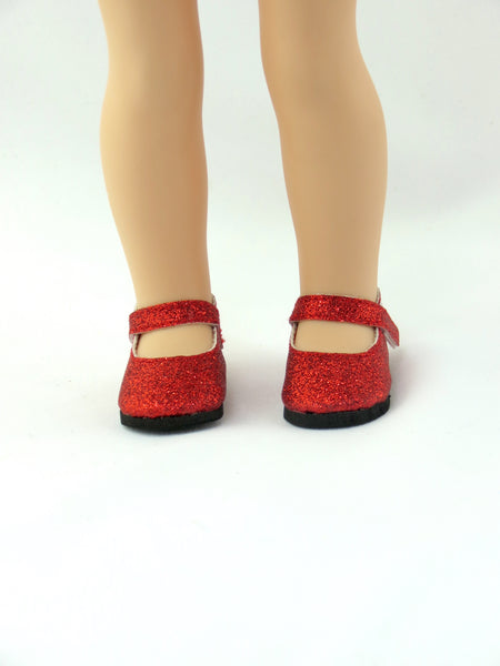 Wellie Wishers Doll Glitter Red Mary Jane Shoes