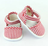 18 Inch Doll Striped Ankle Strap Shoes