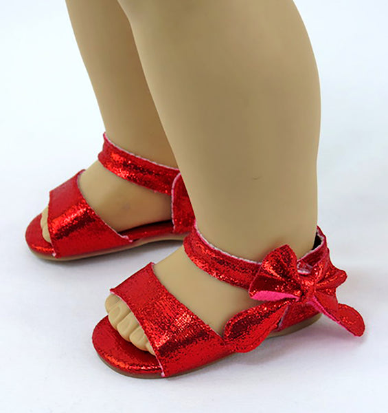 Metallic Bow Sandals for American Girl Doll