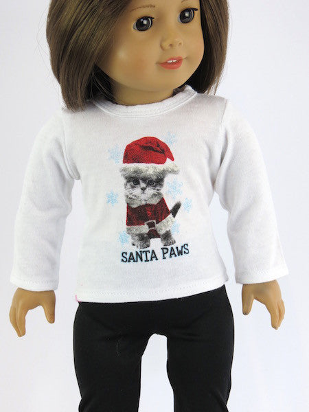 AG DOLL  SANTA PAWS GRAPHIC TEE