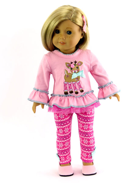 18 Inch Doll Pink Reindeer Pant Set made to fit American Girl Doll