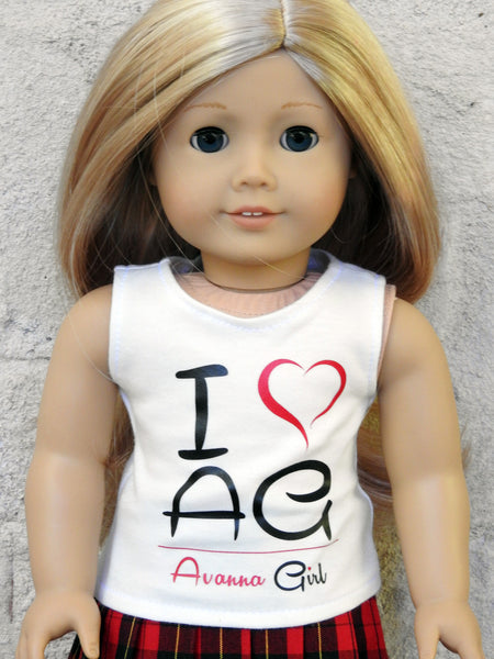 I Love AG Avanna Girl Graphic Tank Top for American Girl Doll®