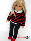 American Girl Doll Clothes Handmade Sweater, Button Up Oxford Shirt, Skinny Jeans