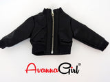 Kidz N Cats Handmade Black Faux Leather Bomber Jacket