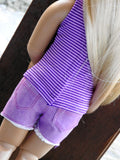 Kidz N Cats® Clothes Handmade Purple Denim Cut-Off Shorts and Striped Tank