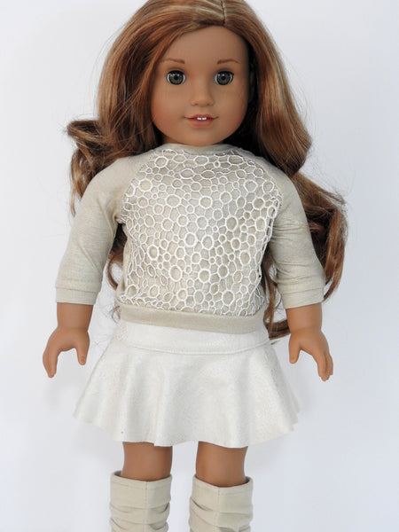 Suede Skirt and Lace Overlay Sweater for American Girl Doll