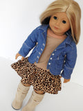 8 Inch Doll Trendy Leopard Print Skirt, Tee, and Denim Jacket fots American Girl Doll