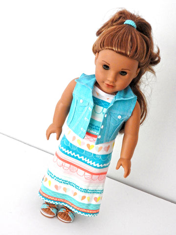 American Girl Doll Handmade Maxi Dress and Cropped Denim Vest