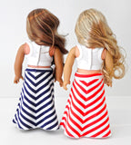 American Girl Doll Handmade Striped Yoga Style Maxi Skirt