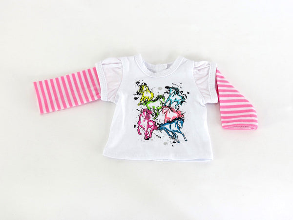 AG Doll Neon Horses Graphic Layered T-Shirt