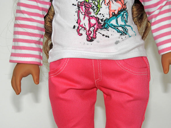 Trendy AG Doll Clothes Handmade Skinny Jeans with Graphic T-Shirt