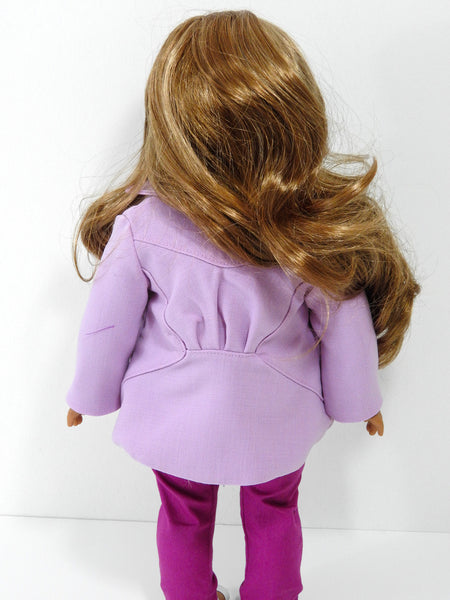 18 Inch Doll Jacket, Handmade Orchid Swing Jacket for American Girl Doll