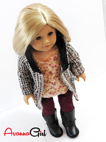 American Girl Doll Handmade Oxford Square Hooded Coat