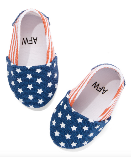 18 Inch Doll Patriotic Red, White and Blue Flats