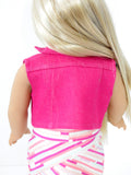 18 Inch Doll Trendy Hot Pink Denim Vest, Handmade for American Girl Doll