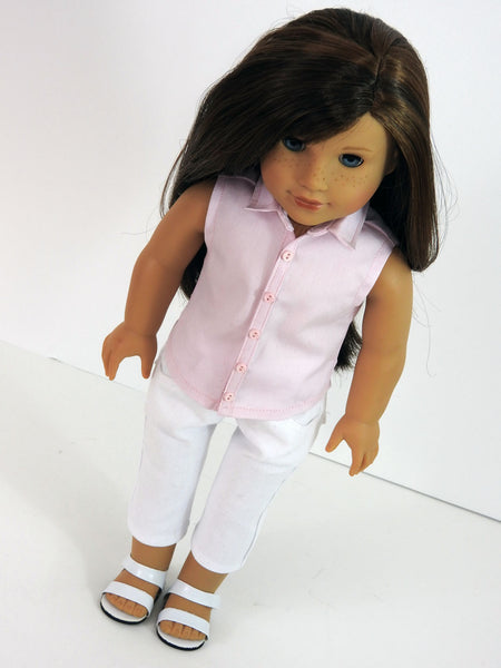 Handmade Oxford Shirt and Capris Jeans for American Girl Doll