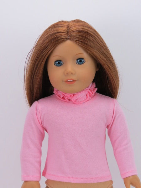 American Girl Doll Pink Ruffle Turtle Neck Tee