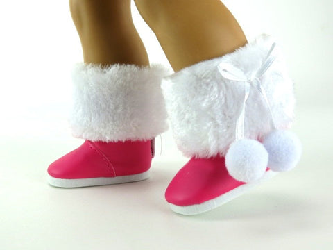 AG Doll Pink Snow Boots with Fur