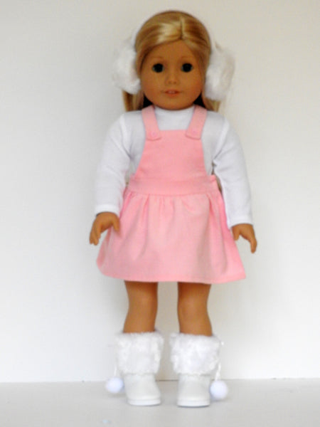 18 Inch Doll Trendy Overall Dress, T-Shirt, Boots, Earmuffs for American Girl Doll