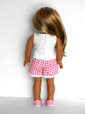 American Girl Doll Overlapping Lace Dolphin Shorts, Tank Top and Sneakers