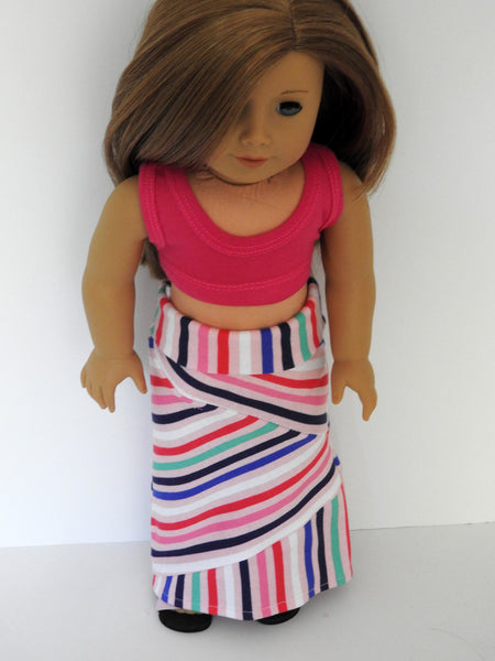 AG Doll Crazy Mixed Up Stripes Maxi Skirt and Cropped Tank Top