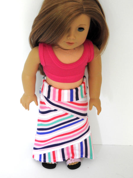 American Girl Doll Handmade Striped Yoga Style Maxi Skirt and Crop Top