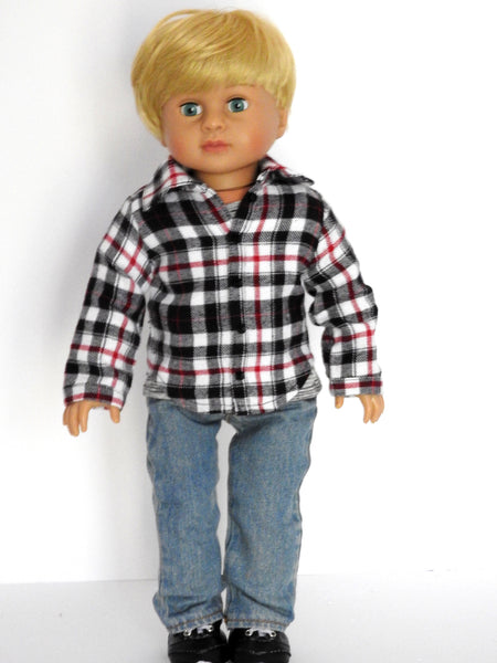 18 Inch Boy Doll Clothes Plaid Flannel Shirt, Tee, Jeans, and Sneakers fits AG Boy Doll