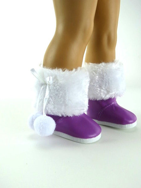 AG Doll Purple Snow Boots with Fur