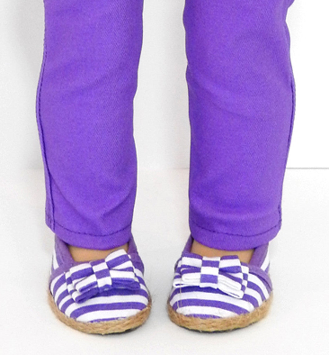 18 Inch Doll Purple Striped Espadrille Shoes