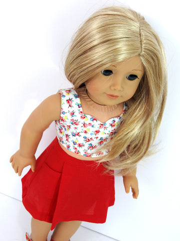 18 Inch Doll Skirt and Crop Top Handmade for American Girl Doll