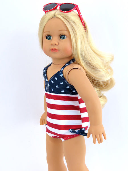 Red, White, and Cute Bathing Suit for American Girl Doll