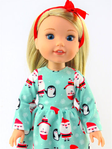 14.5 Inch Doll Santa Nightgown Made to fit Wellie Wishers Doll