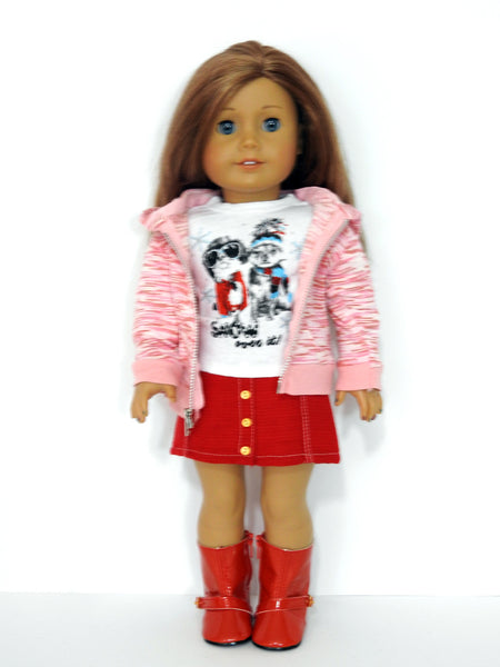 AG Doll Clothes Handmade Hoodie, Skirt, Graphic Tee