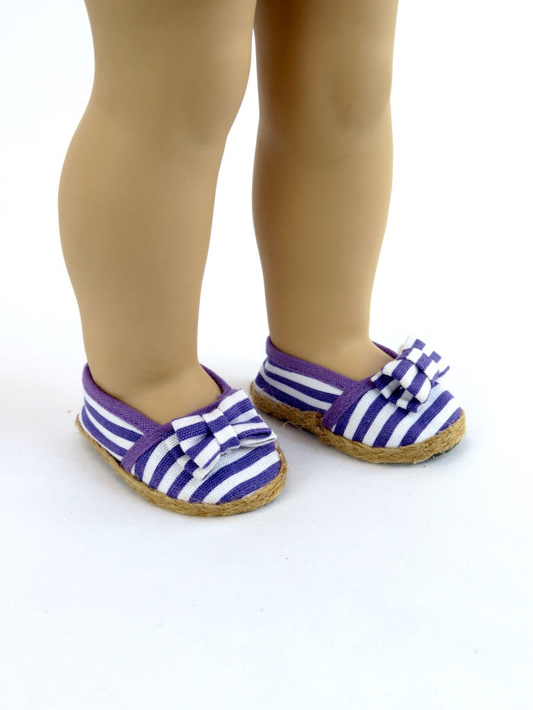 Purple and White Striped Espadrilles for 18 Inch Doll