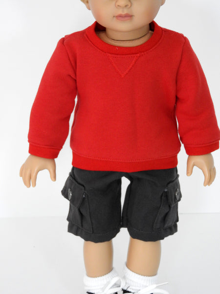 18 Inch Boy Doll Sweat Shirt and Cargo Shorts