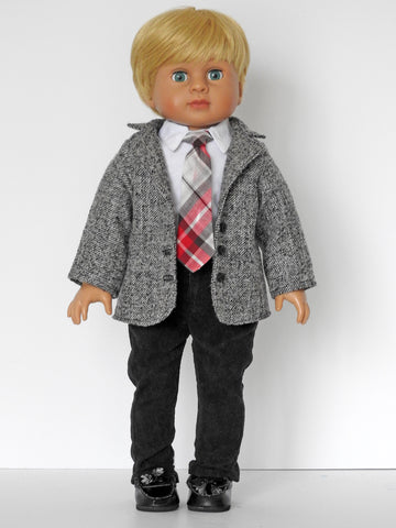 18 Inch Boy Doll Tweed Sports Coat, Corduroy Pants, Shirt, Tie, Belt, and Shoes