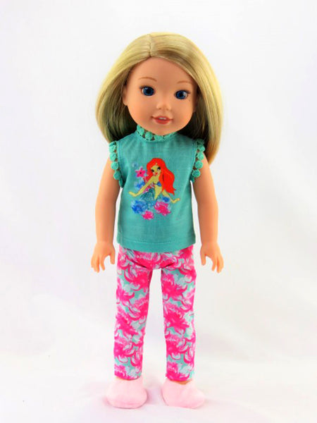 14.5 INCH DOLL Little Mermaid Pant Set/Pajamas
