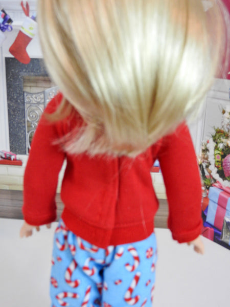 Wellie Wishers Doll Handmade Candy Cane PJ'S, 14 Inch Doll Pajamas