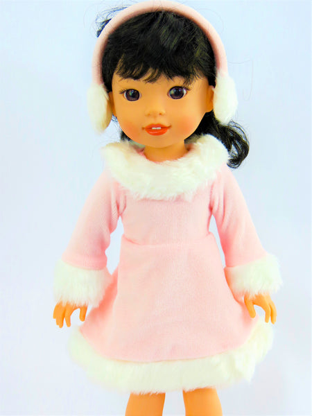 14.5 INCH DOLL Pink Ice Skating Outfit Made to fit Wellie Wishers Doll