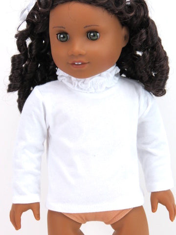 American Girl Doll White Ruffle Turtle Neck Tee