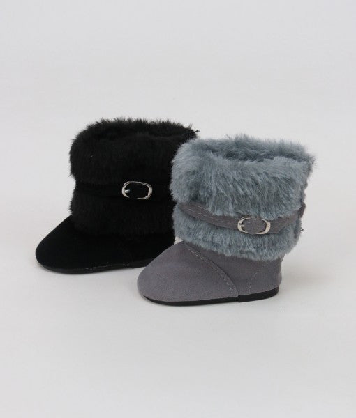 18 Inch Doll Black Furry Boots with Buckle